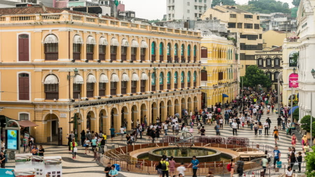 Time-lapse crowded pedestrian at Senado Square Macau, China