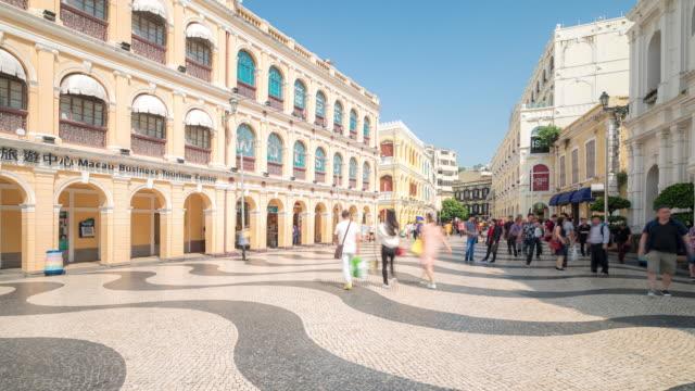 time-lapse crowded pedestrian at senado square macau, china - macao stock videos & royalty-free footage