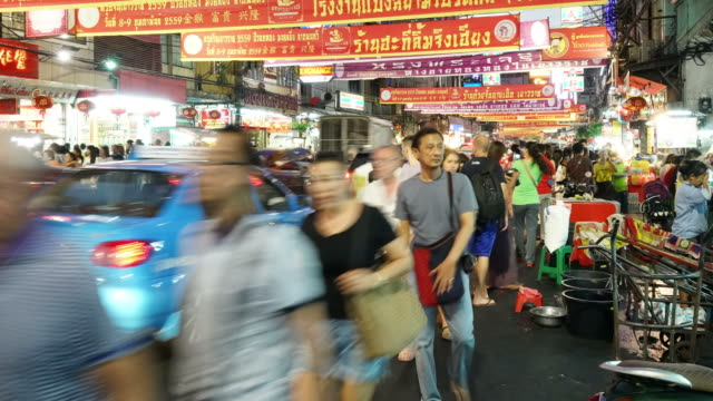 timelapse - crowded people at china town,Thailand