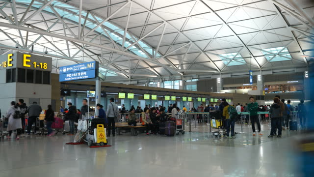 Time-lapse : Crowded people at incheon airport Seoul city , Korea