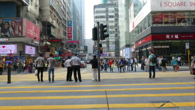 timelapse - crowded people in Hong Kong City