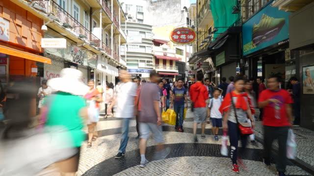 Zeitraffer belebten Personen in macau Markt