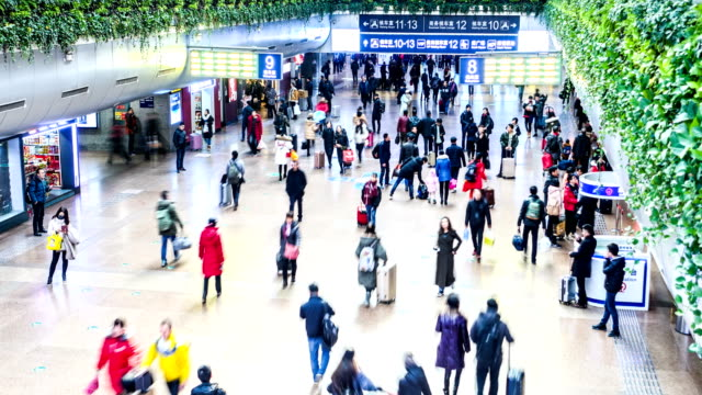 Timelapse crowded station