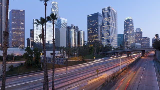 Time-lapse Day to Night, Freeway, Figueroa at Wiltshire, Downtown, Los Angeles, California, United States of America