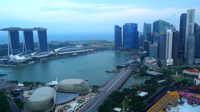 Time-lapse dag naar nacht Singapore city