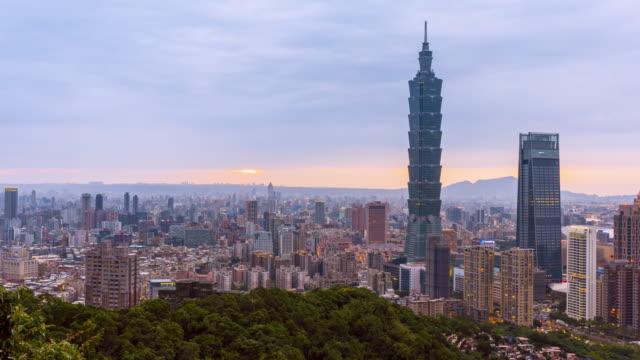 time-lapse day to night taipei cityscape taipei 101 building of taipei financial city ,taiwan - taipei 101 stock videos & royalty-free footage