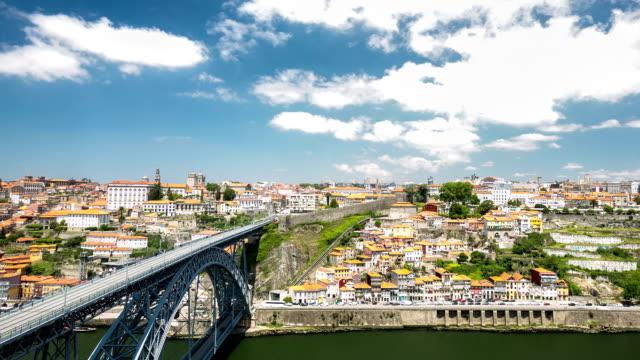HD time-lapse: Dom Luiz bridge in Porto Cityscape Portugal