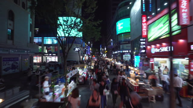 vidéos et rushes de timelapse, downtown seoul at night - acheter
