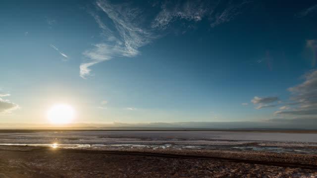 Timelapse during sunset at Salar de Atacama, Chile