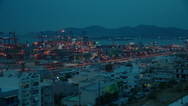 timelapse dusk to night athens/greece port - docks stock videos & royalty-free footage