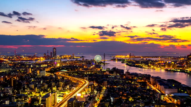 hd time-lapse: dusk to night cityscape osaka bay in japan - osaka stock videos and b-roll footage
