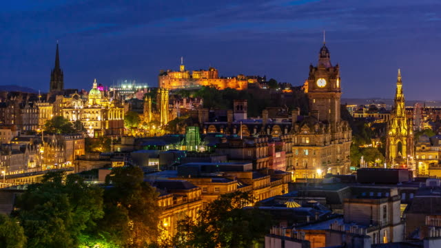 time-lapse: edinburgh cityscape at dusk uk - scotland stock videos & royalty-free footage