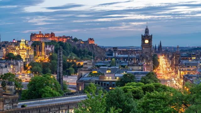 Time-lapse: Edinburgh Cityscape at Dusk UK