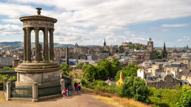 time-lapse: edinburgh cityscape scotland uk - edinburgh scotland stock videos & royalty-free footage