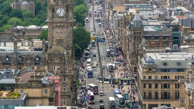 time-lapse: edinburgh cityscape scotland uk - midday stock videos & royalty-free footage