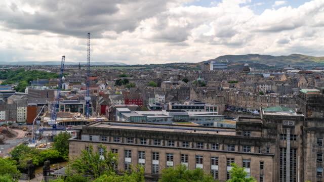 time-lapse: edinburgh cityscape scotland uk - edinburgh castle stock videos & royalty-free footage