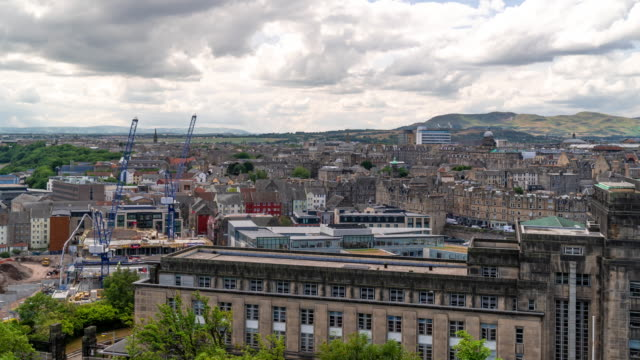 time-lapse: edinburgh cityscape scotland uk - consumerism stock videos and b-roll footage