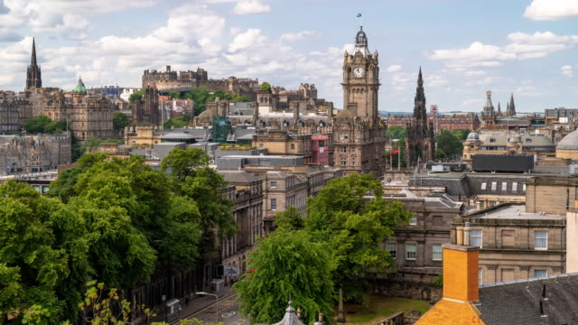 time-lapse: edinburgh cityscape scotland uk - midday stock videos & royalty-free footage
