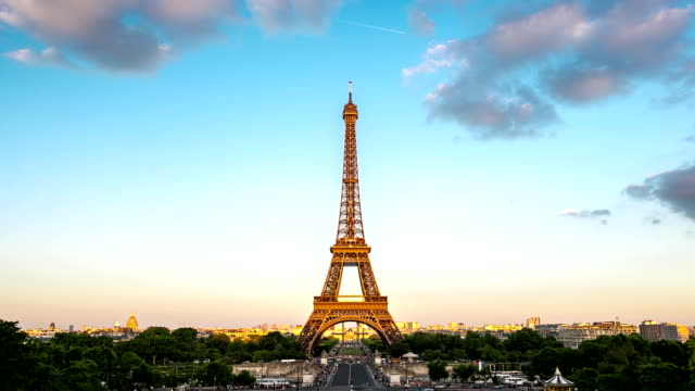 hd timelapse: eiffel tower paris, france - eiffel tower paris stock videos & royalty-free footage