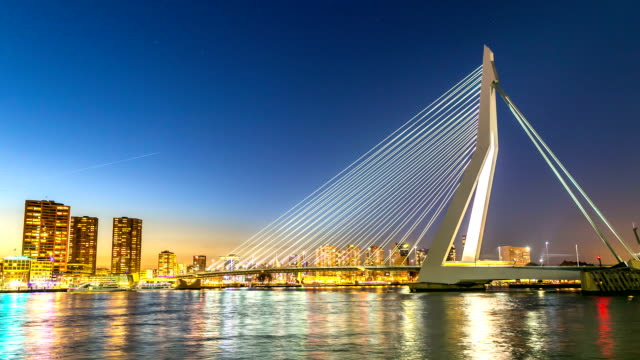 HD time-lapse: Erasmus bridge Rotterdam, Netherlands