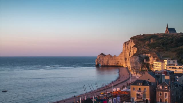 hd timelapse: etretat village and aval cliff normandy, france - normandy stock videos & royalty-free footage