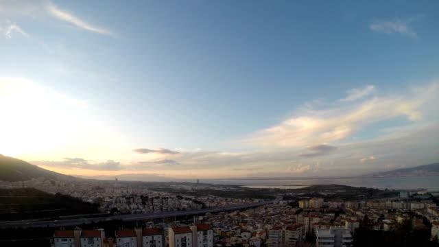 Time-lapse evening cityscape