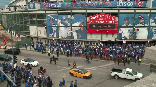 WGN TimeLapse Exterior of Wrigley Field Before Chicago Cubs Playoff Win Against St Louis Cardinals in Chicago on October 13 2015