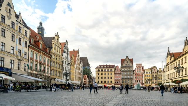 Timelapse: famous market square in summer weekend, Wroclaw, Poland