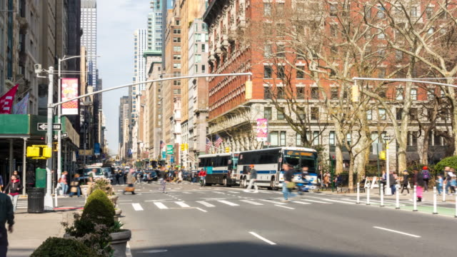 time-lapse: flatiron district at broadway and fifth avenue in new york city usa looking north - broadway manhattan stock videos & royalty-free footage
