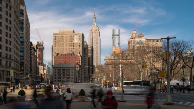 time-lapse: flatiron district at broadway and fifth avenue in new york city usa looking north - fifth avenue stock videos & royalty-free footage