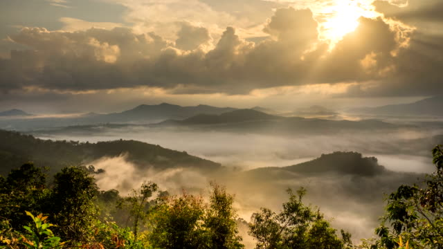 time-lapse fog above mountain and sunlight through clouds at sunrise in thailand - fog stock videos & royalty-free footage