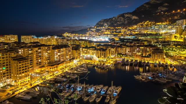 Time-lapse: Fontvieille Monaco Monaco French Riviera Night