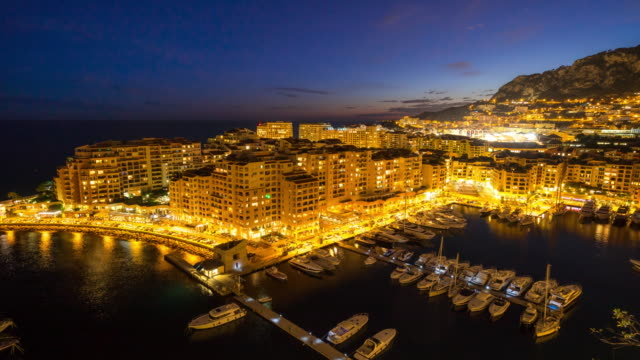 time-lapse: fontvieille monaco monaco french riviera night - monaco stock videos and b-roll footage
