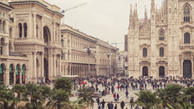 timelapse footage of duomo and piazza del duomo in milan, italy - piazza del duomo milan stock videos and b-roll footage