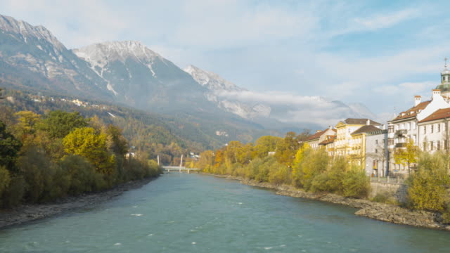 timelapse footage of  innsbruck austria beautiful scenary of river and mountian innsbruck austria - innsbruck stock videos and b-roll footage