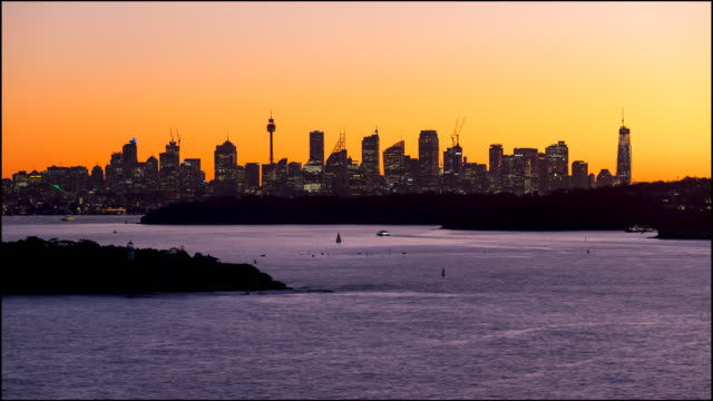 timelapse footage of sydney harbour at sunset, australia - panoramic stock videos & royalty-free footage