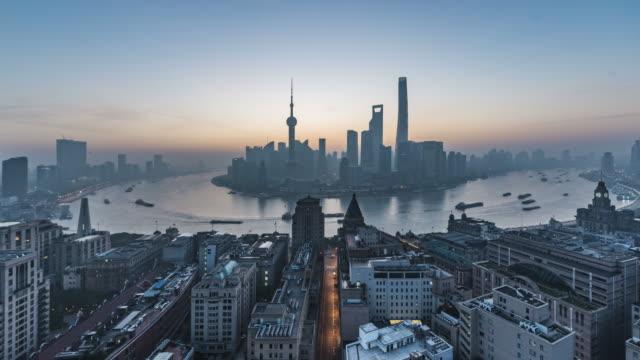 4K Timelapse Footage : shanghai skyline at sunrise