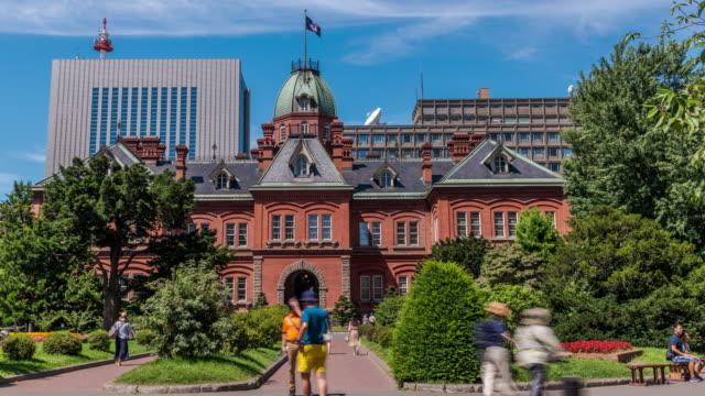 Timelapse voormalige Hokkaido Government Office in Sapporo, Hokkaido Japan