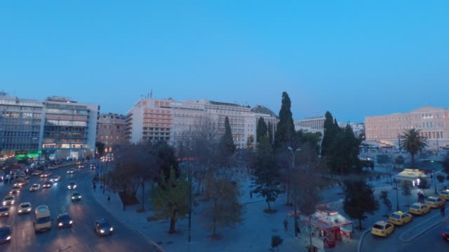 Timelapse from day to night - Athens, Greece, Syntagma Square