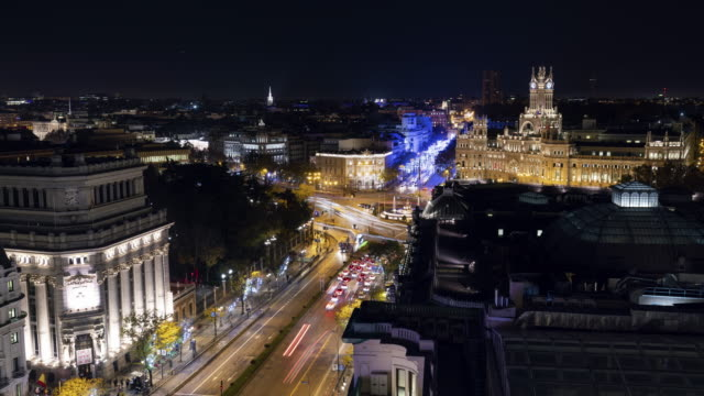 Time-lapse from roof top terrace of christmas light in Madrid and Cibeles