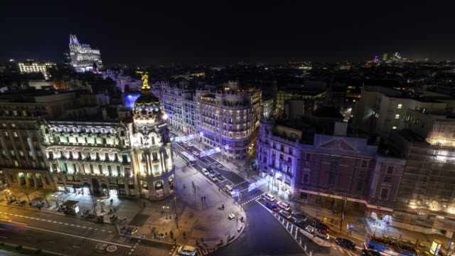 Time-lapse from roof top terrace of christmas light in Madrid
