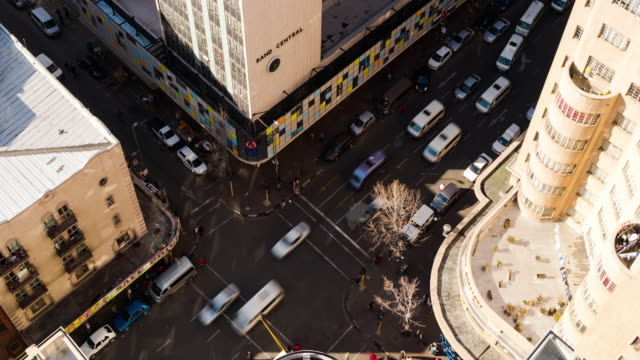 Timelapse from the Anstey Building looking down onto a busy road crossing between Jeppe street and Joubert street in the city Centre of Johannesburg