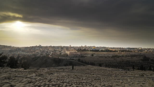 time-lapse from the mount of olives overlooking the cemetery towards the dome of the rock - jerusalem stock videos & royalty-free footage