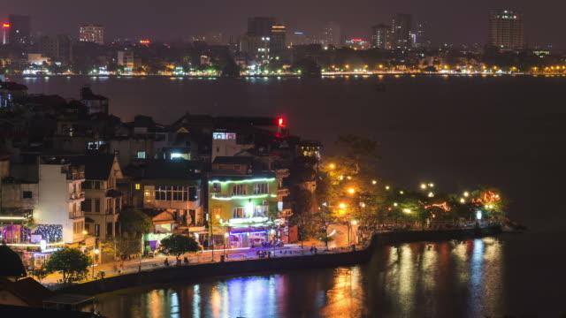 vídeos de stock, filmes e b-roll de definição de intervalo de tempo: da janela, incrível hanoi, vietnã - lago reflection