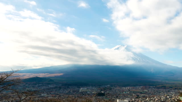 hd time-lapse: fujisan landscape with cloud - satoyama scenery stock videos & royalty-free footage