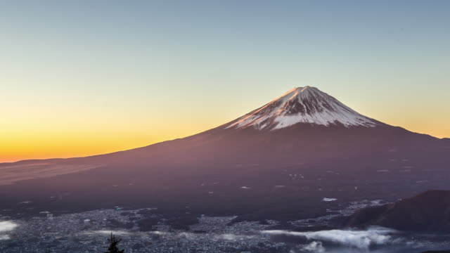 4k time-lapse: fujisan sunrise with kawaguchiko lake aerial view - mt fuji stock videos & royalty-free footage