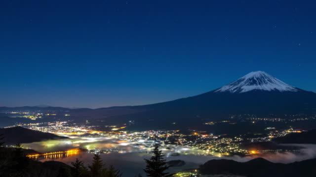 4K Time-lapse: Fujisan sunrise with kawaguchiko lake aerial view