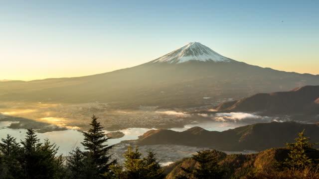 4 K Zeitraffer: Fujisan Sonnenaufgang mit kawaguchiko-See Luftbild