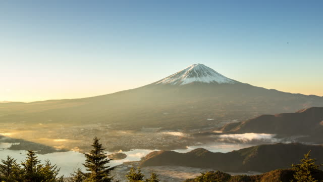 4k time-lapse: fujisan sunrise with kawaguchiko lake aerial view - twilight stock videos & royalty-free footage