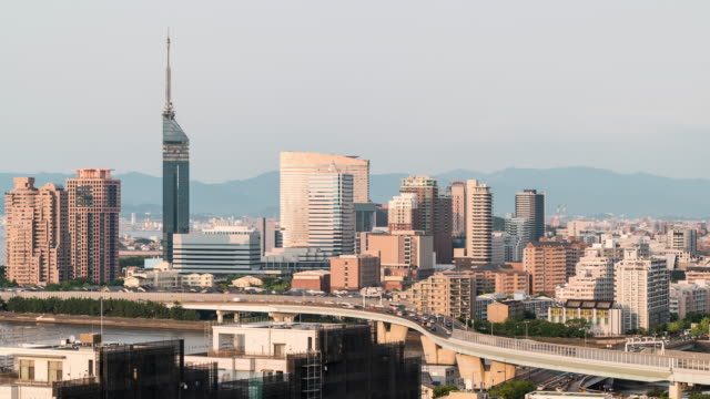 time-lapse fukuoka tower sunset twilight with downtown cityscape in fukuoka city kyushu south of japan - fukuoka prefecture stock videos & royalty-free footage